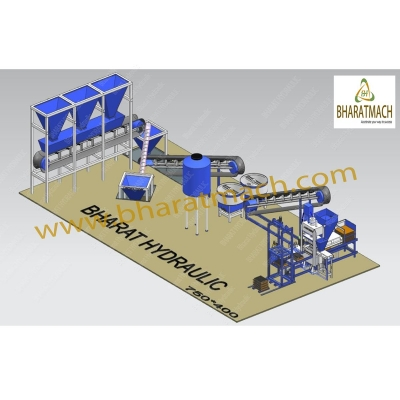 BHF-100 (24cvt.) Fully Automatic Multi Brick & Block Machine with Batching Plant